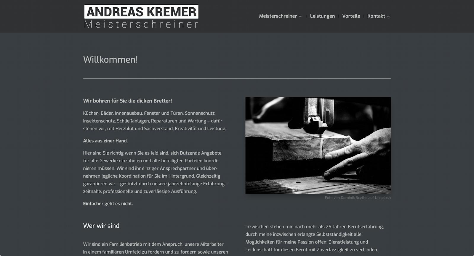 Designbeispiel Kremer Meisterschreiner
